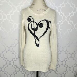 Hot Topic Cream Knit Distressed Tunic Sweater